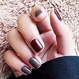 Brishow Lot de 24 faux ongles carrés colorés brillants à coller pour femme ou fille Gris et bordeaux