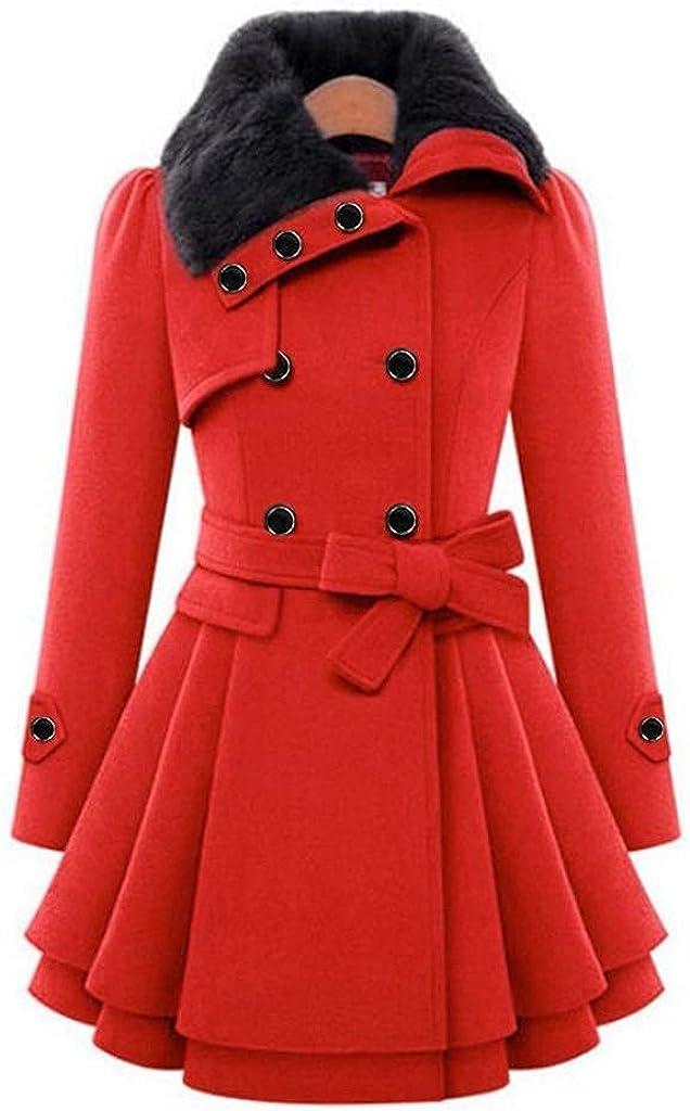 Wool Lapel Trench Parka Coat Womens Winter Warm Windbreaker Outwear Long Jacket Overcoat Windbreaker Button Cloak Coat