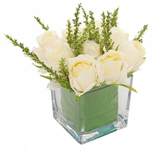 MyGift roses Ivoire artificielles dans un vase en verre carré, imitation arrangements floraux