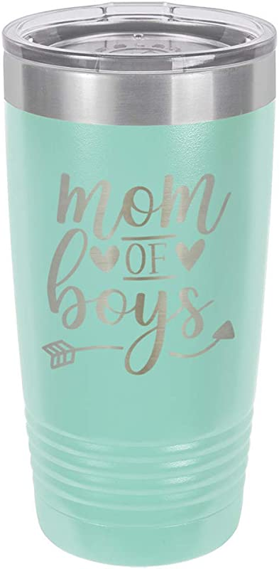 MOM OF BOYS Teal 20 Oz Drink Tumbler With Straw Engraved Stainless Steel Travel Mug Funny Quote Gift Idea OnlyGifts Com