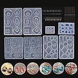 Kit de molde de fundición de resina para hacer joyas Pendientes Moldes de joyería Incluyendo ganchos Anillos de salto Alfileres de ojo para bodas Cumpleaños Craft DIY Paquete de 248