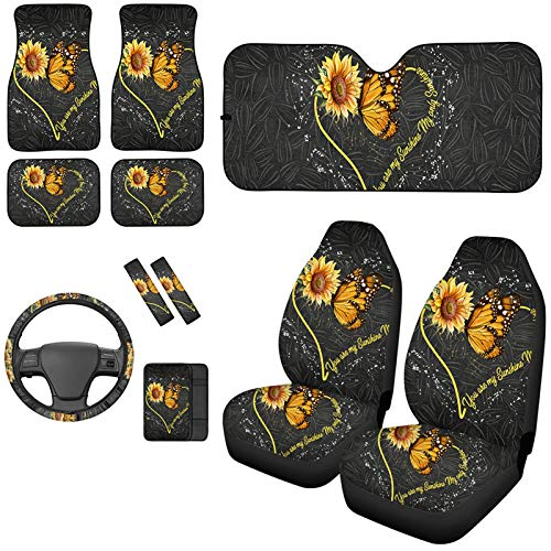 Aoopistc 11PC Combo Set Sunflowers Butterfly 2pc Car Seat Cover +4pc Car Floor Mat +Windshield Car Sunshade+Car Shoulder Belt Pad+Steering Wheel Covers+Armrest Pad Sunflower Protector