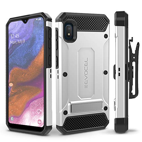 Evocel Galaxy A10E Case Explorer Series Pro with Glass Screen Protector and Belt Clip Holster for The Samsung Galaxy A10E, Silver
