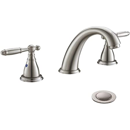 Three Hole 8 Inch Two Handle Brushed Nickel Widespread Bathroom Faucets With Valve And Metal Pop Up Drain Assembly By Phiestina Wf017 4 Bn Amazon Com