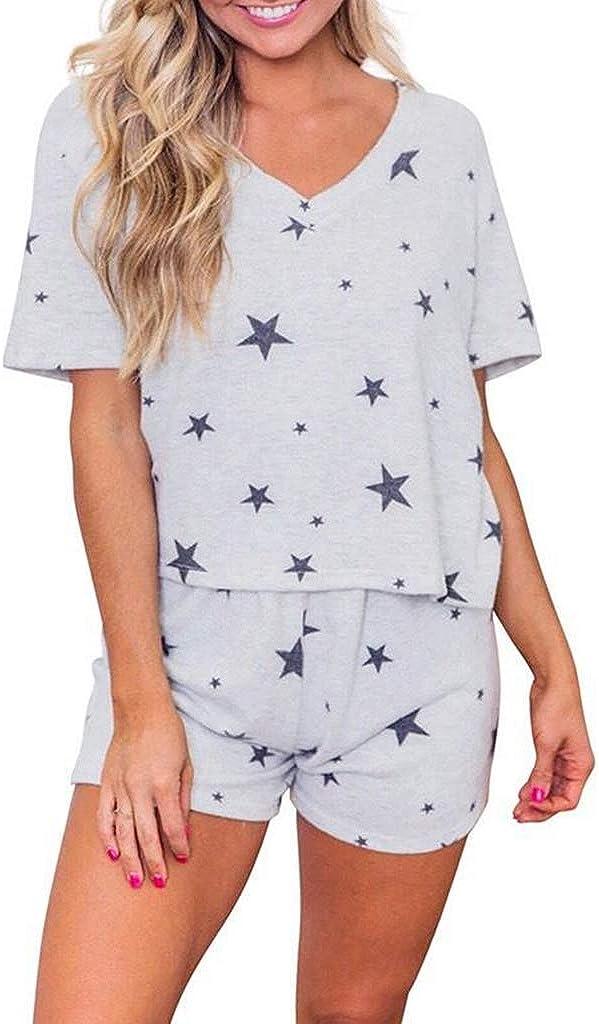 Women Pajama Set Night Lounge Top Short Sleeve Sleepwear Cold Shoulder Pj Sets Nightgowns Nightshirts Nightwear