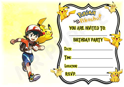 Pokemon Lets Go Pikachu Geburtstagsparty-Einladungen – Pikachu Querformat Rahmen Design – Partyzubehör (Packung mit 12 Einladungen im A5-Format) WITH Envelopes