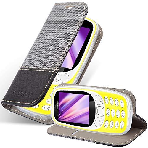 Cadorabo Hülle für Nokia 3310 in GRAU SCHWARZ - Handyhülle mit Magnetverschluss, Standfunktion & Kartenfach - Hülle Cover Schutzhülle Etui Tasche Book Klapp Style