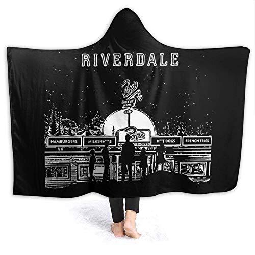 Soft River Dale - Manta con capucha para vestir con estampado en 3D, capa de poncho, cálida felpa para mujeres, hombres, invierno, novedad, manta para reloj, televisión, sofá, cama, siesta, 60 x 50