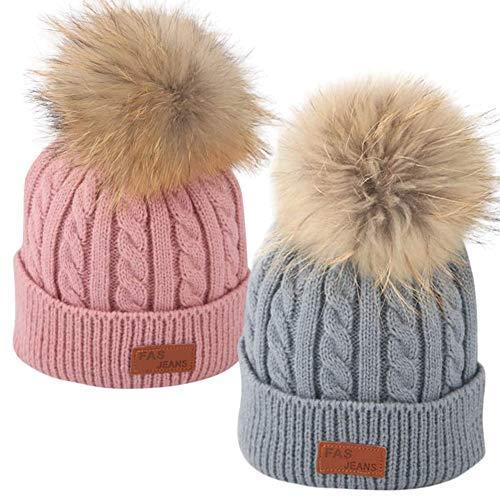 LLMZ Winter Warm Baby Hut 2PCS Pompon Mütze Cap Strickmütze Baby