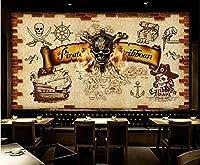 3D写真レトロノスタルジック海賊頭蓋骨頭リビングルーム寝室テレビ背景壁家の装飾壁-400x280cm