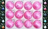 Jack 12x Glas Eislack Christbaumkugeln 6cm Thüringer Weihnachtskugeln Kugeln, Farbe:Pink Eislack