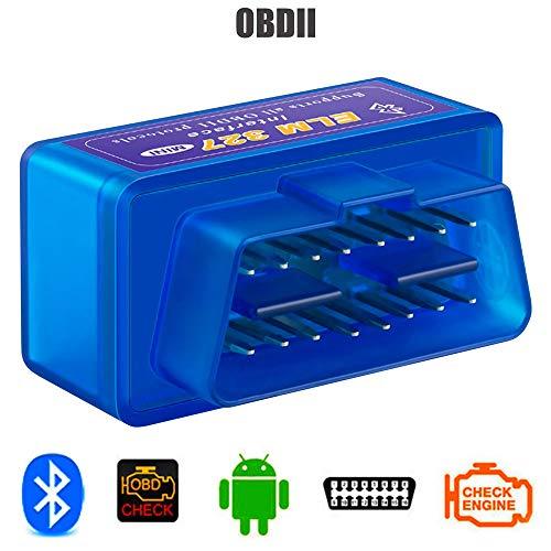 OcioDual Dispositivo ELM327 Interfaz V2.1 Bluetooth OBD-II 2 OBD2 Herramienta de Análisis Diagnóstico+CD Azul para Android Coche