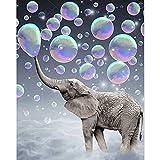 SANYOCZH Diamond Painting Kit Completo, DIY Cuadros Diamantes 5d Para Adultos, Niños, Redondo Taladro Pintura de Diamantes, Decoración de la Pared del Hogar (30 x 40 cm, Elefante Animal Burbujas)