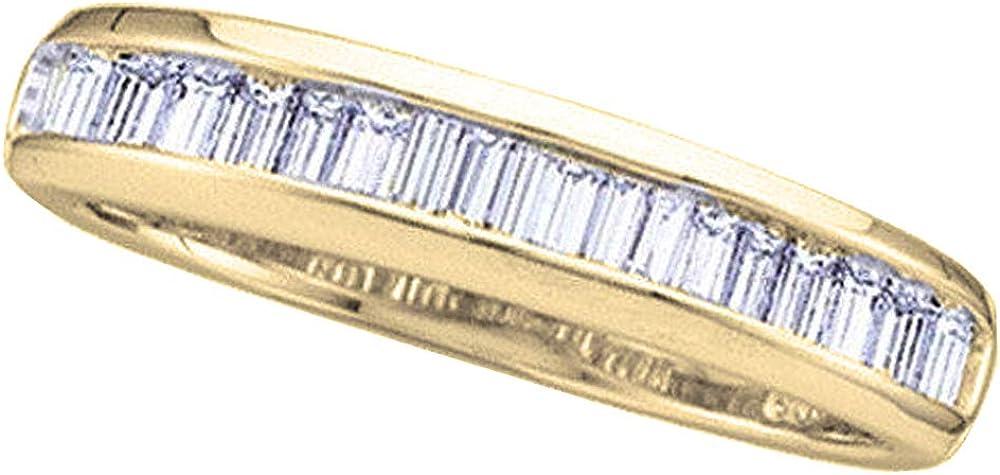 Dazzlingrock Collection 0.40 Carat (ctw) 14K Gold Baguette White Diamond Ladies Anniversary Wedding Stackable Band