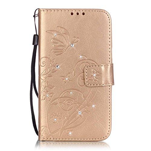 ISAKEN Motorola Moto G3 Hülle, Glitzer Strass Kristall PU Leder Geldbörse Wallet Hülle Handyhülle Tasche Schutzhülle mit Handschlaufe Strap für Moto G 3. Generation - Schmetterling Blume Gold