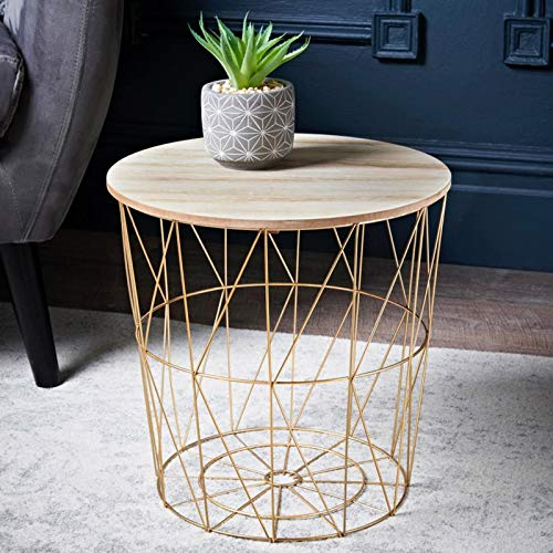 Tromso Basket Side Table With Removable Top Extra Storage for Toys/Books Living Room/Bedroom Decor