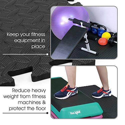 Yes4All Interlocking Exercise Foam Mats – Interlocking Floor Mats for Gym Equipment – Eva Interlocking Floor Tiles (24 Square Feet – Black – 6 pcs)