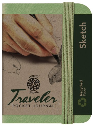 Pentalic Art Traveler Pocket Journal Sketch Book, 4' x 3', Olive Green