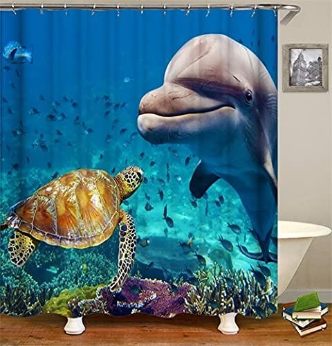 Cortina de Ducha oceánica impresión en Color 3D Impermeable decoración de baño poliéster Material de protección del Medio Ambiente S.3 180x200cm