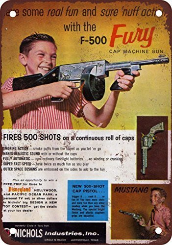 Unique Wall Decor Metal Wall Plaque 16X12 1959 F-500 Fury Cap Machine Gun,Best in Metal Sign Retro Home Decoration Vintage Tin Sign for Bar Pub Home
