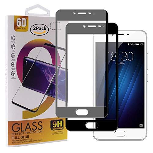 Guran [2 Paquete Protector de Pantalla para Meizu M3S / Meizu M3 Smartphone Cobertura Completa Protección 9H Dureza Alta Definicion Vidrio Templado Película - Negro