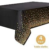 Mantel Desecheble Fiesta Oro Negro Mantel Plástico Rectangular Dorado Cubierta de Mesa para Banquetes, Graduación, Cumpleaños, Cóctel,137 cm x 274 cm,4PCS