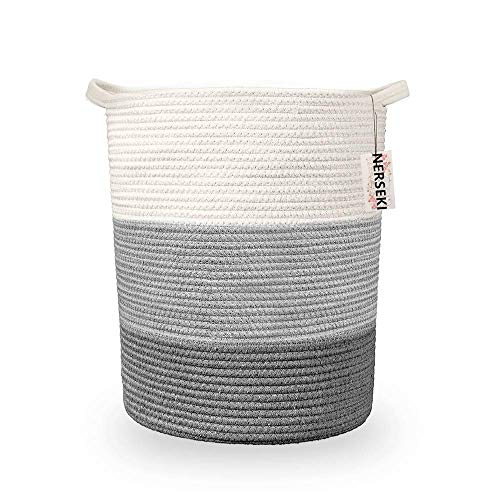 """Nerseki Cotton Rope 16""""x18"""" Decorative Laundry Basket in Grey Basket Storage Blanket for Living Room, Laundry Décor"""