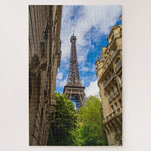 CICIDI The Eiffel Tower Between Buildings, Paris, France Jigsaw Puzzle 1000 Pieces for Adult Entertainment DIY Toys , Graet Gift Home Decor