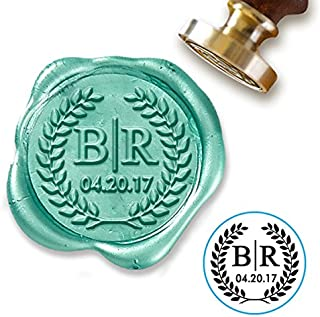 """Custom Wax Seal Stamp Kit with Sealing Wax-1"""" Die with 2 Initials and Date in Laurel Wreath"""