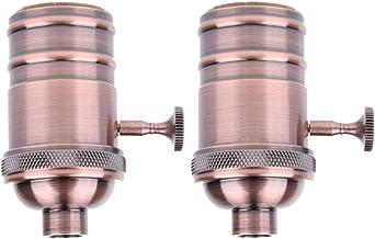 HOMYL Vintage Copper Light Socket, Retro E27 Pendant Lamp Copper Holder, with Knob, 2 Pack