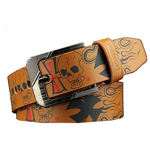 zonfer Cinturón de los hombres del hueso del cráneo cruzado Cinturó