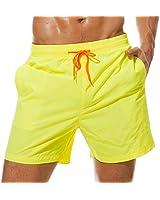 SILKWORLD Men's Swimming Surf Board Shorts Mesh Liner(US XL, Yellow)