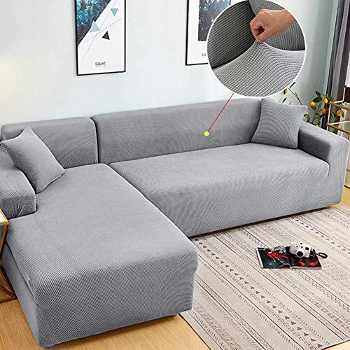 XHNXHN Funda elástica para sofá de 1 2 3 4 plazas, Funda de sofá de Jacquard Suave, Funda de sofá Lavable, Protector de Muebles con Fondo elástico para niños, Mascotas, Gris Claro 57-72 Pulgadas