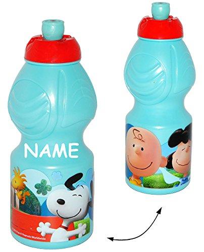 alles-meine.de GmbH Trinkflasche -  The Peanuts / Snoopy  - incl. Name - Flasche für 400 ml - Leichter Kunststoff / Plastik - auslaufsicher / Fahrradflasche / Trinklernflasche ..