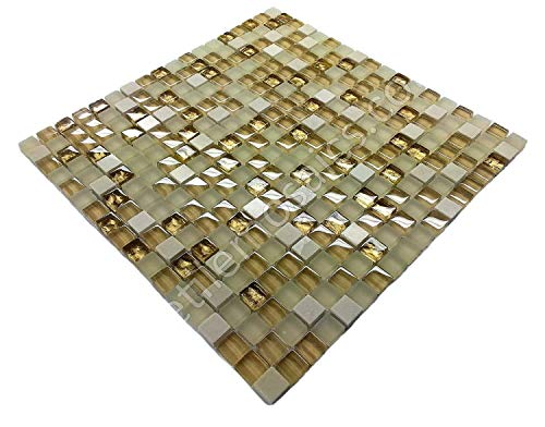 Vogue Premium Quality Botticino Marble Gold Glass Mixed Square Mosaic Tile for Backsplash and Bathroom Wall Designed in Italy (12x12)