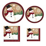 Snowman in a Winter Wonderland with Buffalo Plaid Border: Christmas Holiday Bundle Includes 16 Dinner Plates, 8 Dessert Plates, 16 Luncheon Napkins and 16 Beverage Napkins