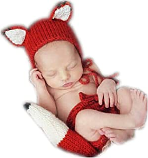 Newborn Baby Infant Photography Props Boys Girls Boys Knit Fox Hat Pants with Tail Orange