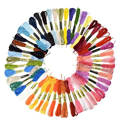 rongweiwang Punto de Cruz Hilo de algodón Bordado de Hilo Dental Pulsera Hecha a Mano de Bricolaje de Tejer Cuerdas de Hilo de Tejer Hecho a Mano DIY Cadena de Color Aleatorio - 50 madejas
