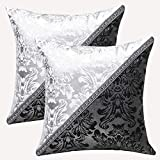 uxcell Pack of 2 Throw Pillow Cover Cases for Couch Sofa Home Decoration Vintage Floral Pillow Case Cushion Cover, 18 x 18 Inches, Black Silver Contrast