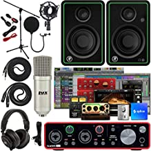 """Focusrite Scarlett 2i2 2x2 USB Audio Interface Full Studio Bundle with Creative Music Production Software Kit and CR4-X Pair Studio Monitors and 1/4"""" Instrument Cables"""
