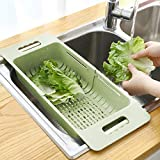 MineSign Collapsible Colander Fruits and Vegetables Drain Basket Adjustable Strainer Over the Sink for Kitchen (Green)