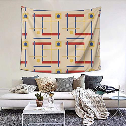 Ameok-Design Wandteppich, Motiv A Nod To Bauhaus, kreisförmig, Wandbehang, Decke, Wandkunst, perfekte Dekorationen, Schlafzimmer, Wohnzimmer, Wohnheim, 152 x 127 cm