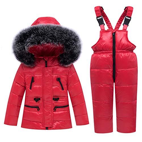 Kindersneeuwpak donsjack met capuchon + skibroek 2 stuks licht skipak set 110/L (3-4 anni) Rood
