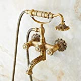 Latón antiguo arte tallado montado en la pared grifo de la bañera del baño manijas dobles estilo telefónico ducha de mano con patas de garra relleno de bañera