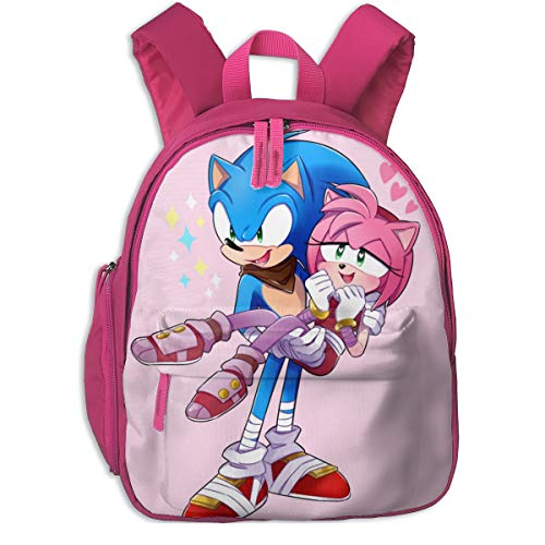 Waterproof Baby Backpack, Amy And Sonic Couple Love Rucksack With Adjustable Shoulder Straps, Big Cute Book Bags Bag For Unisex Teens