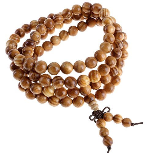 Jovivi Men Women 8mm Natural Wood Buddhist Prayer 108 Beads Tibetan Mala Meditation Wrap Bracelet Necklace