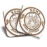 Gran posavasos (juego de 2) cuadrado/brillante calidad posavasos/mantel de protección para cualquier tipo de mesa – Roma Capitale Roma Italia mapa de viaje #6044
