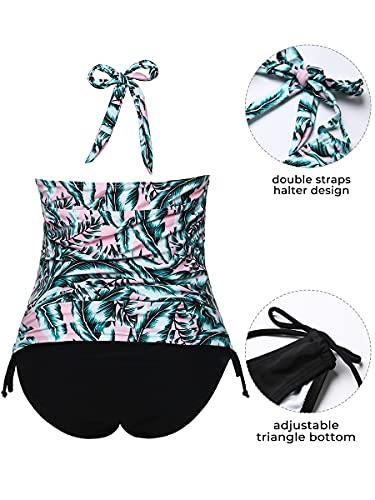 Summer Mae Traje de Baño de Maternidad Tankini Triángulo Halter Verde XXL