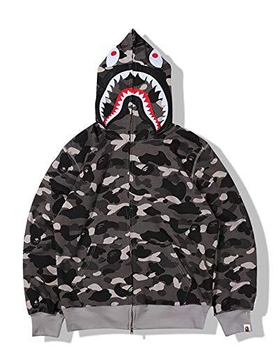 Felpa unisex con cappuccio Bape Shark Head Camo Zip Pullover Slim Fit con cappuccio, regalo per uomo e donna, nero, M