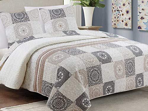 Zweiseitige Tagesdecke Bettüberwurf 3 Tlg. 220x240 cm + 2 Kissenbezüge Tavira Braun Weiß Ecru Schwarz Grau- Antea